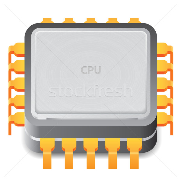 ícone microprocessador branco computador projeto assinar Foto stock © ildogesto