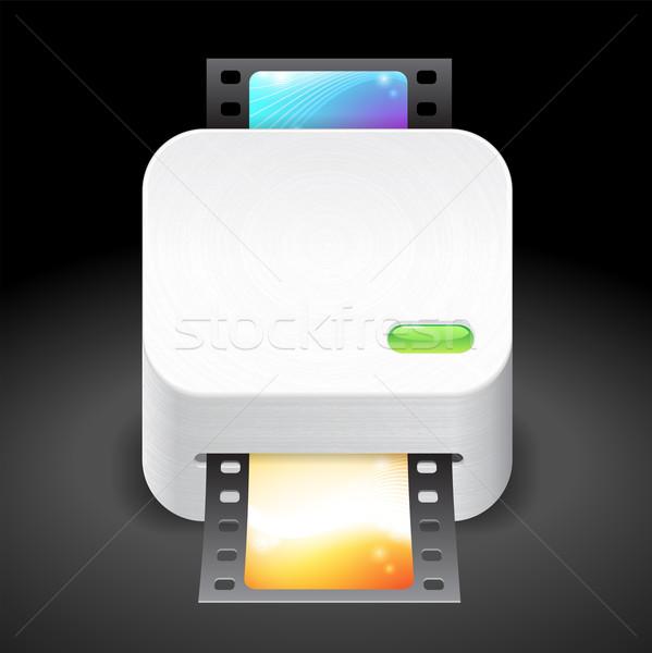 Icono película escáner oscuro diseno azul Foto stock © ildogesto