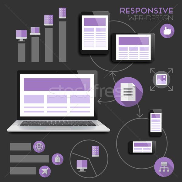 Duyarlı web tasarım infographics vektör eps10 şeffaflık Stok fotoğraf © ildogesto