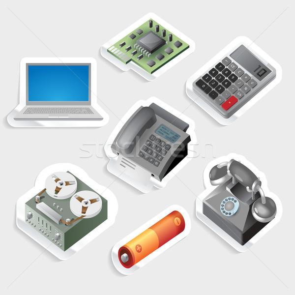Sticker icon set for devices and technology Stock photo © ildogesto