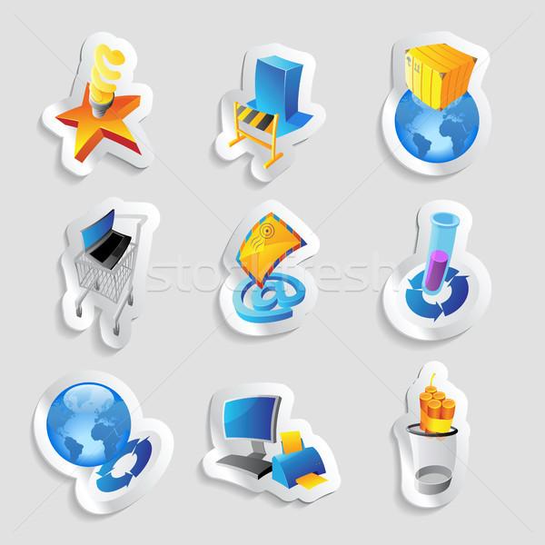иконки промышленности экология энергии компьютер строительство Сток-фото © ildogesto
