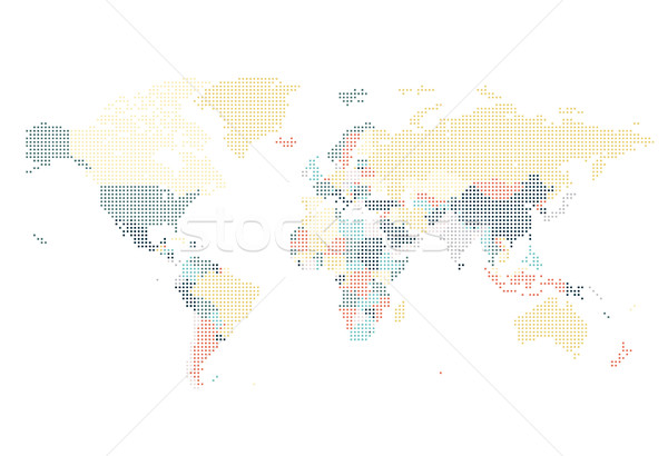 Dotted World map of square dots Stock photo © ildogesto