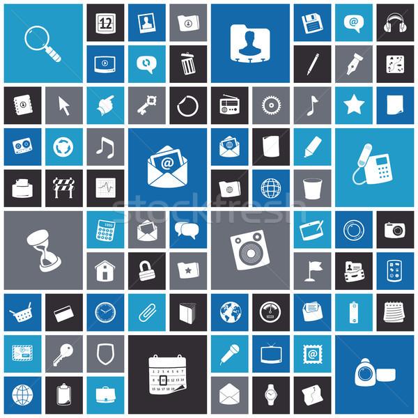 Ontwerp iconen gebruiker interface telefoon wereldbol Stockfoto © ildogesto