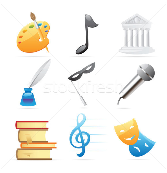Symbole Künste Musik Architektur Poesie Literatur Stock foto © ildogesto