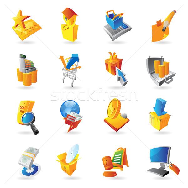 Ikonok kiskereskedelem gazdaság számítógép munka terv Stock fotó © ildogesto