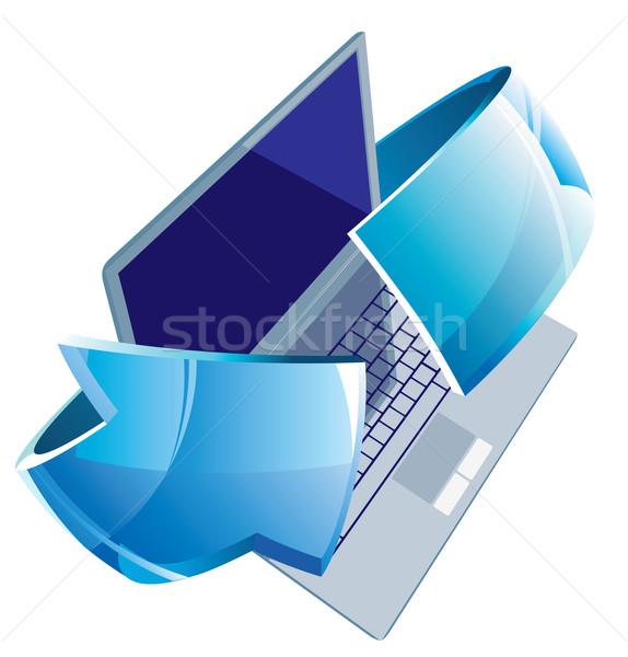 Laptop nyíl számítógép üveg notebook ezüst Stock fotó © ildogesto