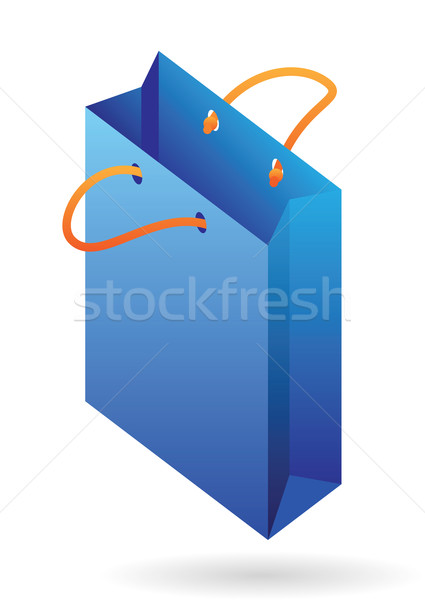 Stockfoto: Isometrische · icon · Blauw · winkelen · zak