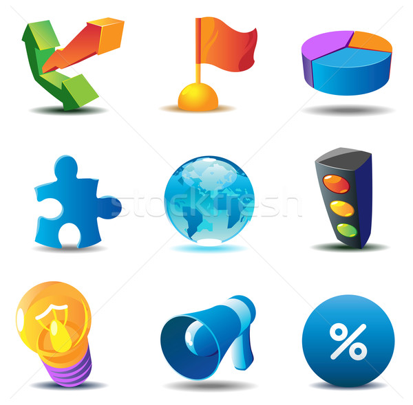 Business concept icons Stock photo © ildogesto