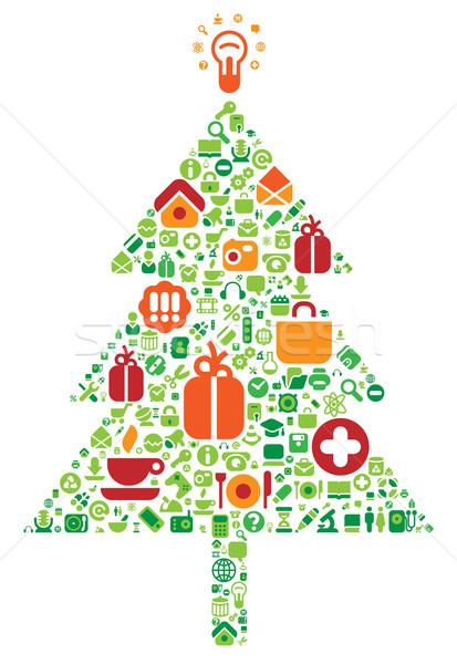 рождественская елка иконки компьютер Интернет иконы музыку дерево Сток-фото © ildogesto