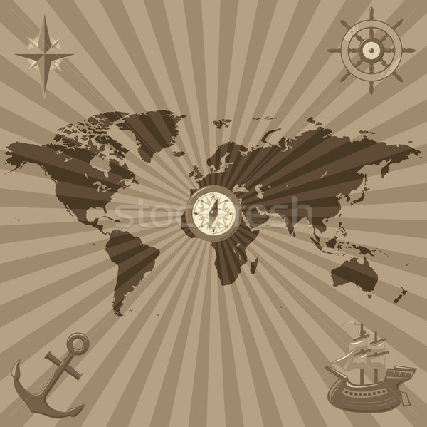 World map with nautical symbols Stock photo © ildogesto
