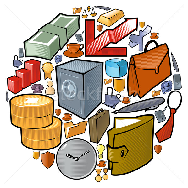 Circle of business icons Stock photo © ildogesto