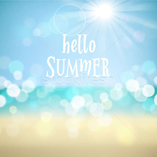 Yaz tatili tropikal plaj merhaba yaz poster vektör Stok fotoğraf © ildogesto