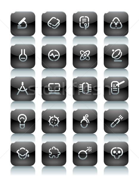 ステンシル 黒 ボタン 科学 アイコン ウェブサイト ストックフォト © ildogesto