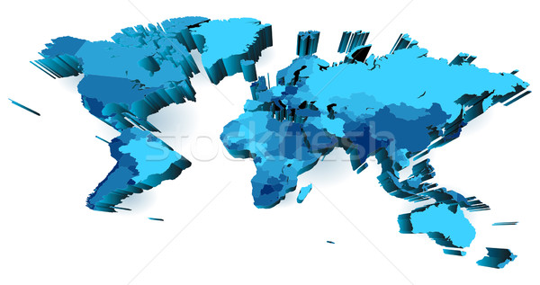 World map with countries, extruded with perspective Stock photo © ildogesto