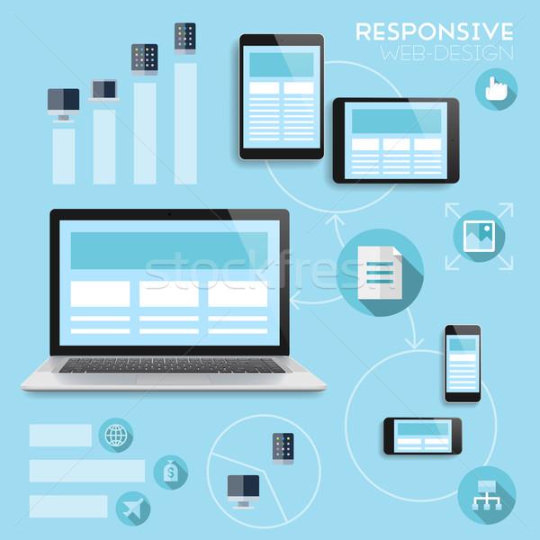 Reszponzív webdesign infografika vektor eps10 átláthatóság Stock fotó © ildogesto