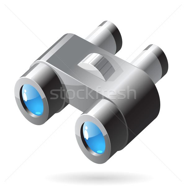 Izometrik ikon dürbün cam mavi çelik Stok fotoğraf © ildogesto