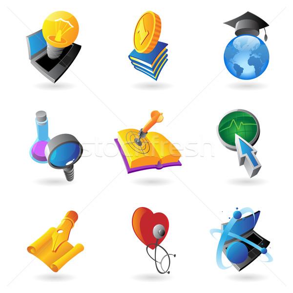 Icons for science and education Stock photo © ildogesto