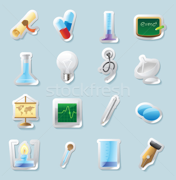 Sticker icons for science and education Stock photo © ildogesto