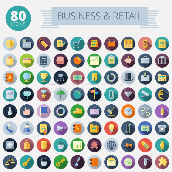 Flat Design Icons For Business and Retail Stock photo © ildogesto