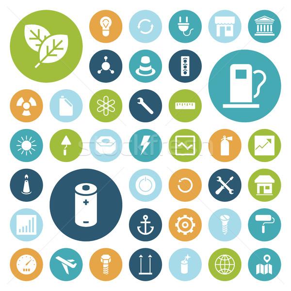 Photo stock: Design · icônes · industrielle · énergie · écologie · maison