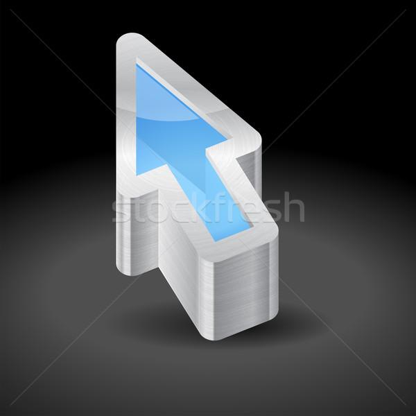 Ikon kurzor sötét terv fém kék Stock fotó © ildogesto