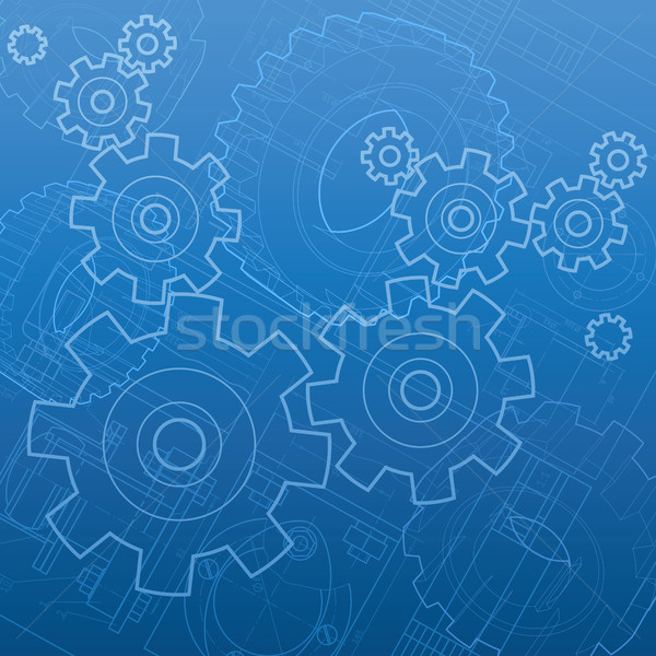 Industrial resumen construcción azul máquina acero Foto stock © ildogesto