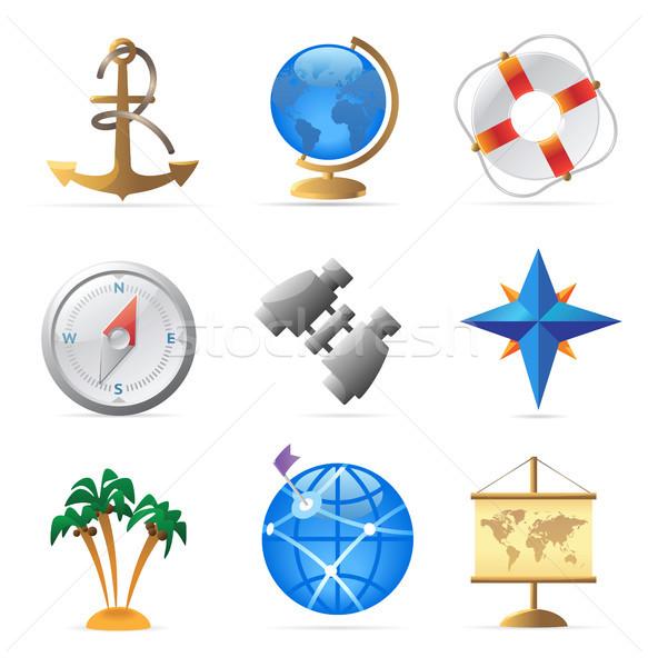Icons for sea travel Stock photo © ildogesto