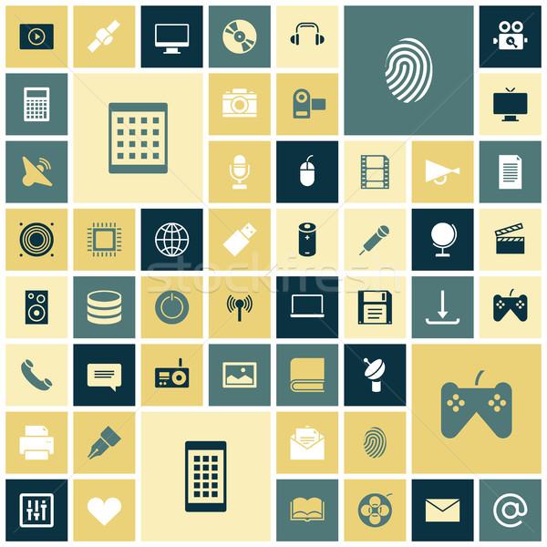 Ontwerp iconen technologie media wereldbol film Stockfoto © ildogesto
