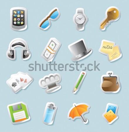 Sticker icons for personal belongings Stock photo © ildogesto