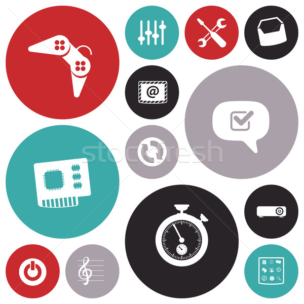 Diseno iconos usuario interfaz herramientas sonido Foto stock © ildogesto