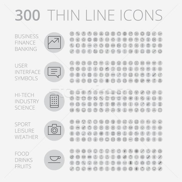 Dun lijn iconen business technologie recreatie Stockfoto © ildogesto