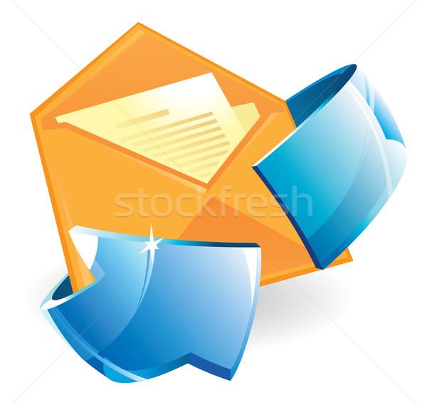 Brief pijl papier Blauw document post Stockfoto © ildogesto