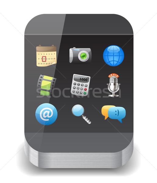 Ikona smartphone app ikona Widok biały Zdjęcia stock © ildogesto