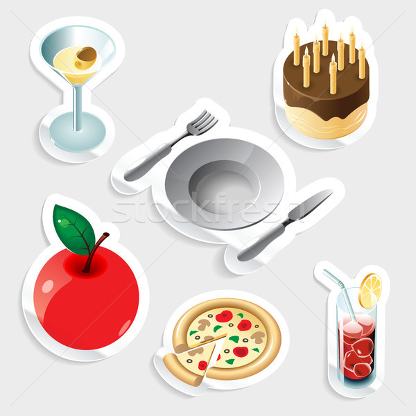 Sticker icon set for food and drinks Stock photo © ildogesto