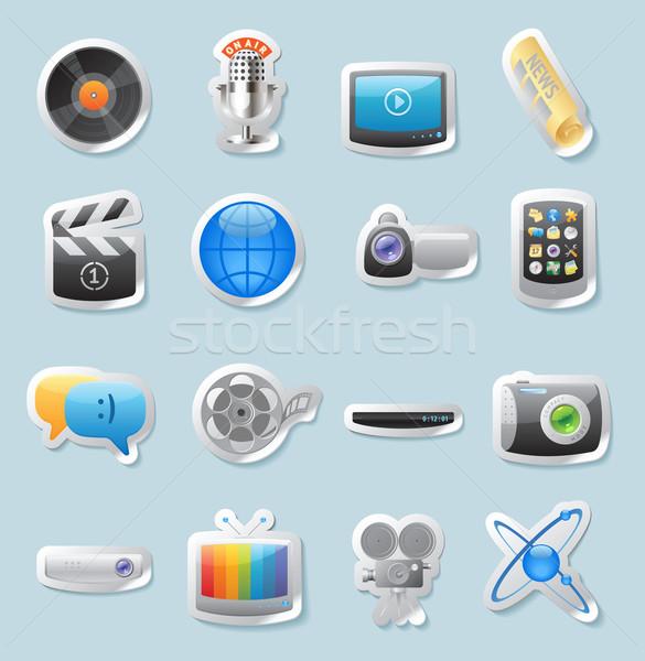 Stockfoto: Sticker · iconen · media · knop · ingesteld · film