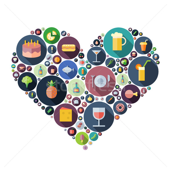 Icons for food and drink arranged in heart shape Stock photo © ildogesto