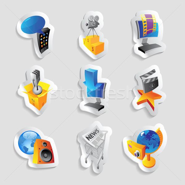Foto stock: ícones · mídia · diversão · computador · música · globo