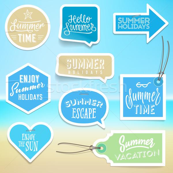Nyári szabadság vakáció matricák címkék terv vektor Stock fotó © ildogesto