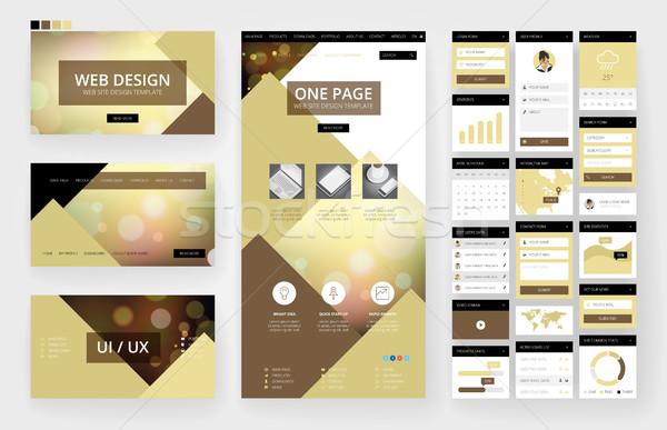 Projektowanie stron internetowych szablon interfejs elementy stronie jeden Zdjęcia stock © ildogesto