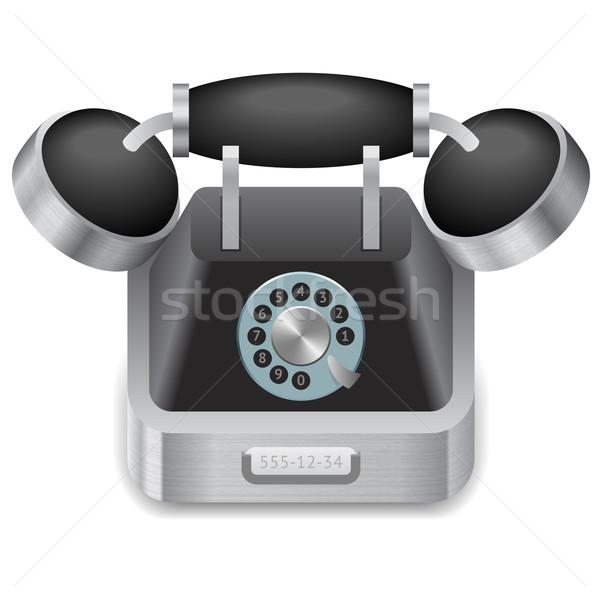 Ikona vintage telefonu biały projektu technologii Zdjęcia stock © ildogesto