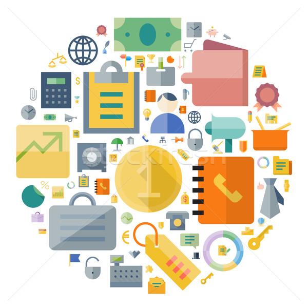 Icons for business and finance arranged in circle Stock photo © ildogesto