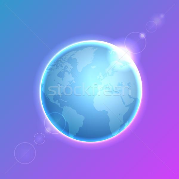 Planet Earth on colorful defocused lights bokeh background Stock photo © ildogesto