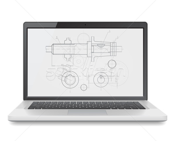 Laptop with blueprint Stock photo © ildogesto