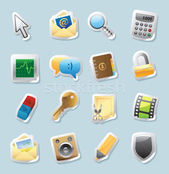 Sticker icons for signs and interface Stock photo © ildogesto