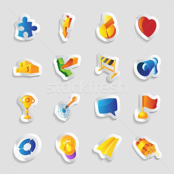 Ikonok feliratok metaforák szimbólumok szív kék Stock fotó © ildogesto