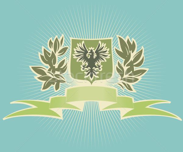 Verde scudo aquila sfondo segno foglie Foto d'archivio © ildogesto