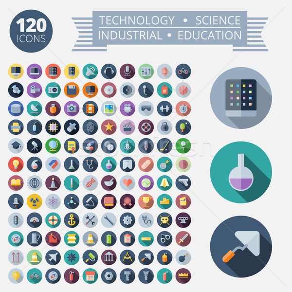 Flat Design Icons For Technology and Science Stock photo © ildogesto