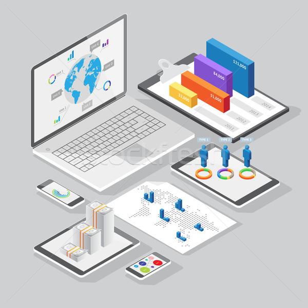 Isometrische infographics ontwerp communie ingesteld schrijfbehoeften Stockfoto © ildogesto