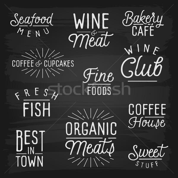 Dessinés à la main café restaurant alimentaire école design Photo stock © ildogesto