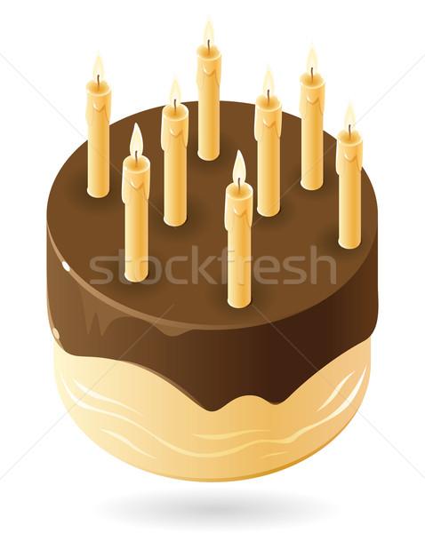 Csokoládés sütemény gyertyák étel fény terv torta Stock fotó © ildogesto